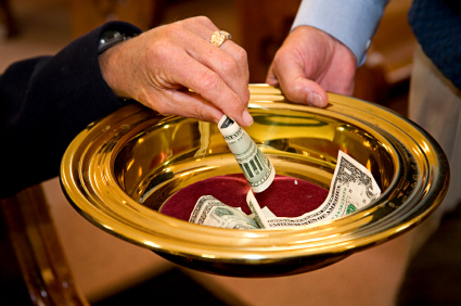 Giving Money To The Church Offering time.
