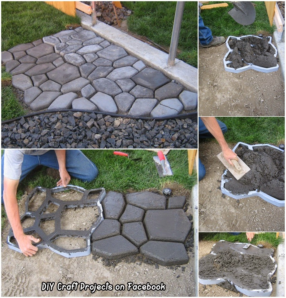 DIY Cement Cobble stone Path