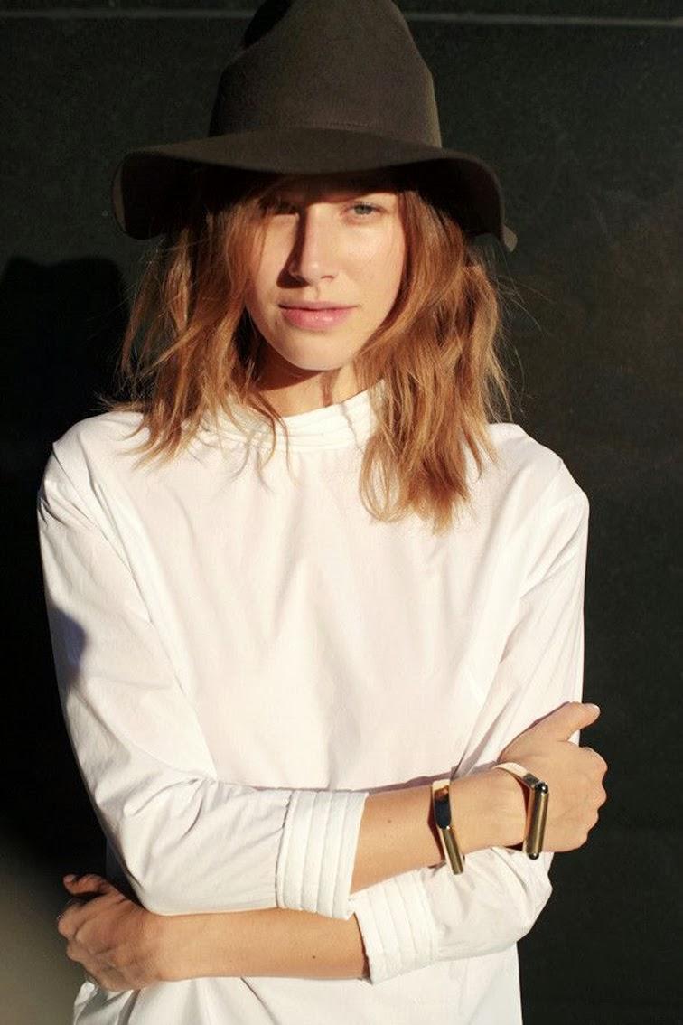 Elena Perminova natural hair color wide brim hat