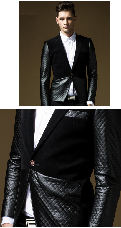 Modern Black Blazer For Men With Quilted Pattern
