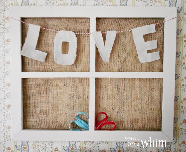 DIY Love Garland in a Window Frame from Denise on a Whim