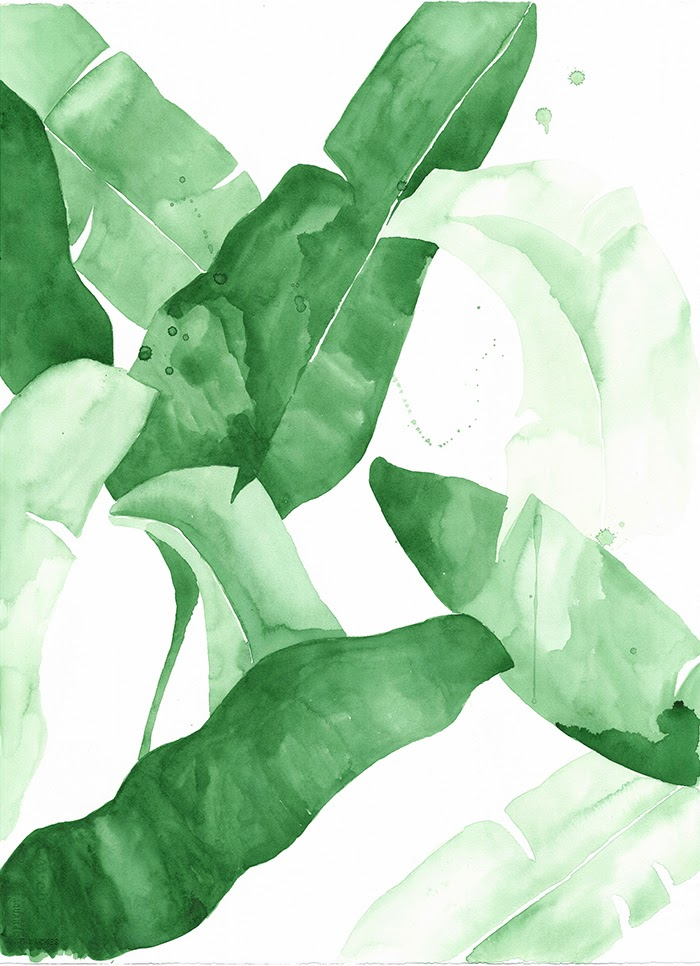 now available  Tropical Leaf Watercolor PrintsBanana Leaf Wallpaper Bathroom