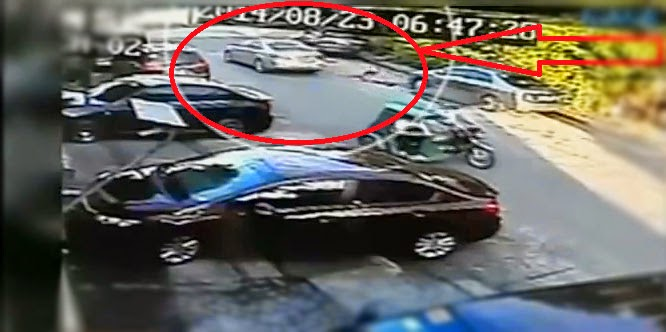 Caught on CCTV a Teenage Girl Jumped from a Car Undress in Mandaluyong City[VIDEO]