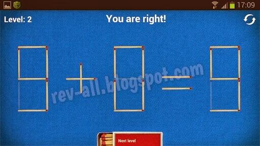Contoh solusi Puzzle with Matches - permainan otak-atik asah otak dan kreatifitas (rev-all.blogspot.com) Ikon Puzzle with Matches