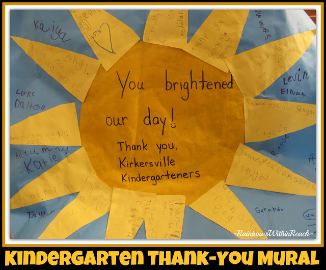 photo of: Kindergarten Thank You Mural of Handwritten Gratitude