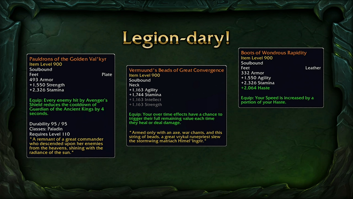 how to get legendory item legion