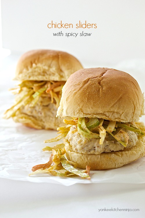 Easy baked or grilled chicken sliders topped with spicy slaw