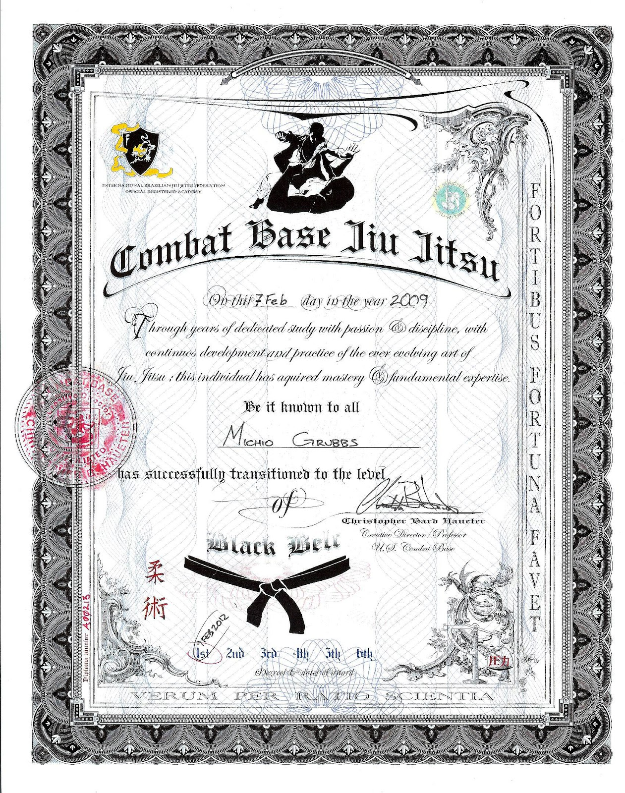 Excel jiu jitsu mma fitness march 2012 for Black belt certificate template