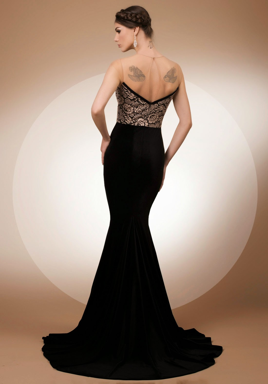 My Secret Lover, mermaid velvet and Solstiss lace evening dress with portrait back, Bien Savvy My Secret collection