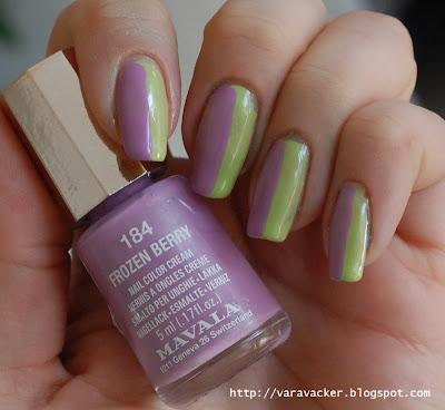 naglar, nails, nagellack, nail polish, side by side, nai lart,  nail art sunday, mavala, lila, lilac, green, grönt