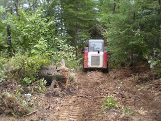 Skidsteer, woods trail, Huisman