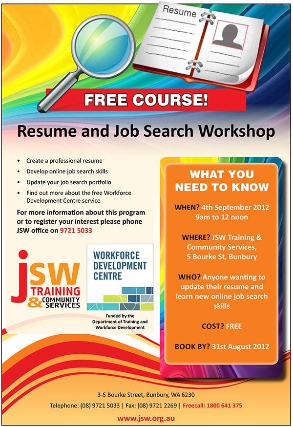 JSW Training and Community Services: August 2012