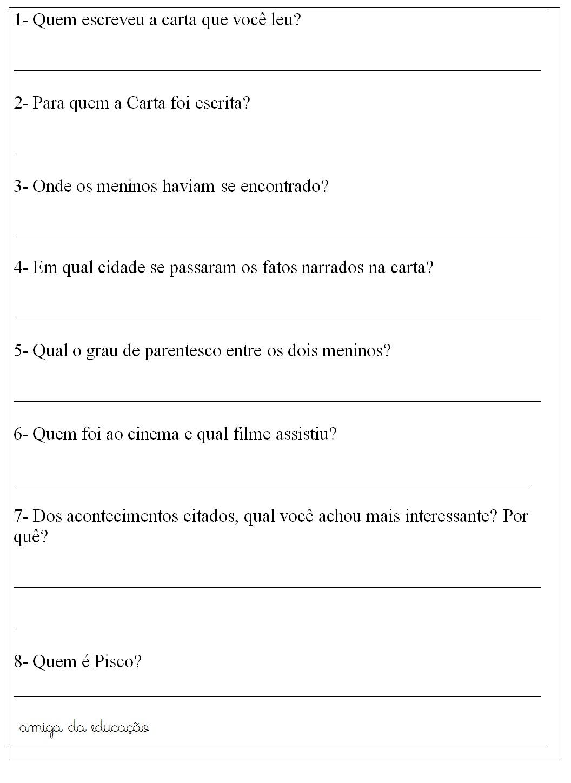 Suficiente AMIGA DA EDUCAÇÃO.: Atividade gênero textual Carta. SG42