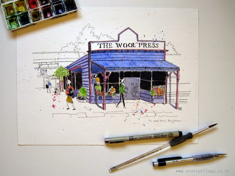 Arrowtown, New Zealand, urban sketch by Renee Walden