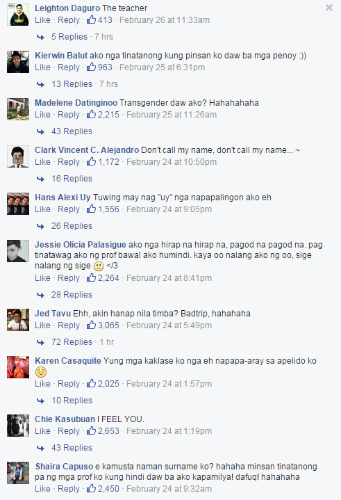 FEU Surname Wars: Netizens Make fun of their Surnames and It will Surely Make You Laugh!
