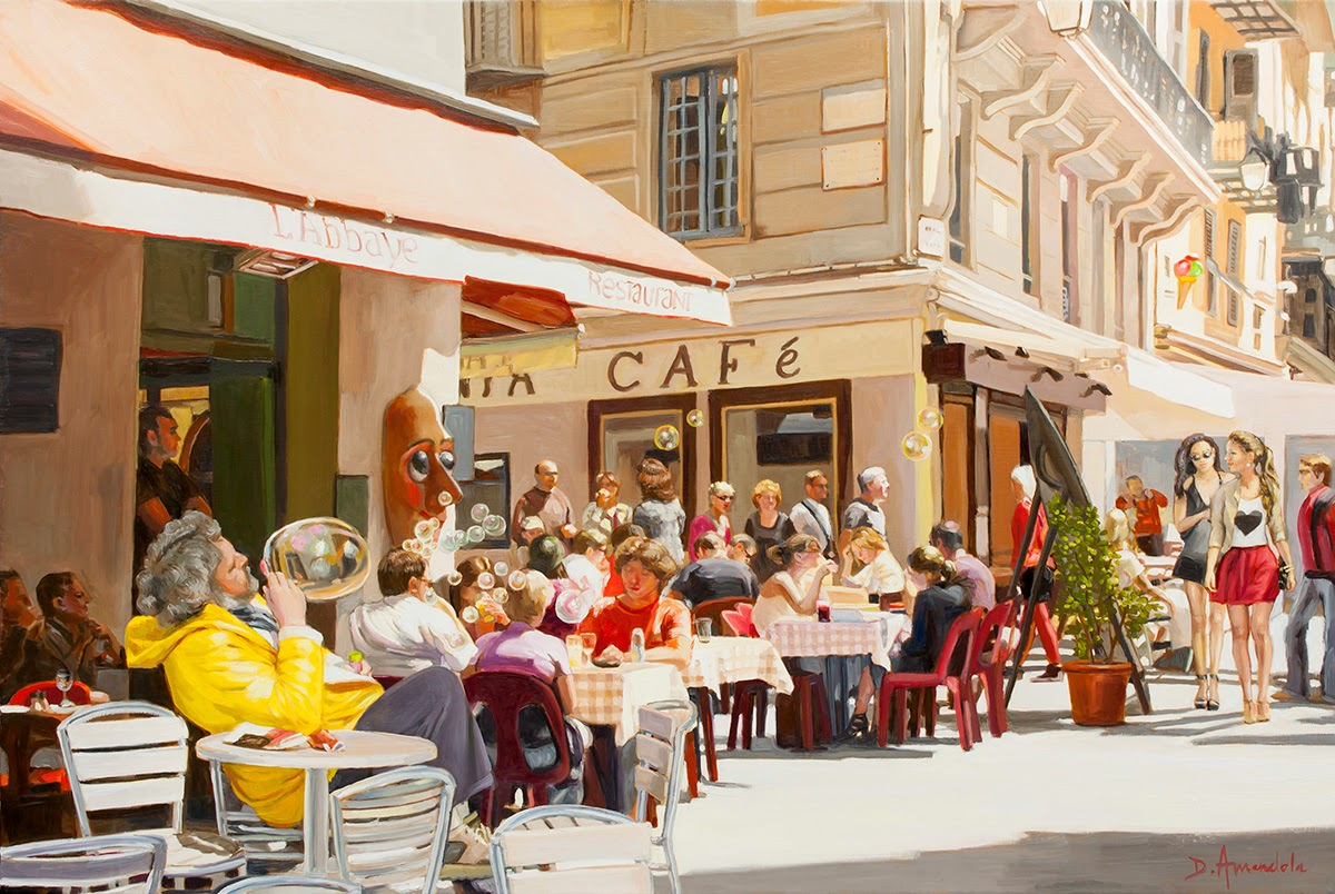 Daily painting by artist dominique amendola blowing for The terrace restaurant