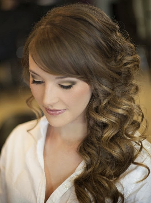 wedding hairstyle curl style ombre wedding reception