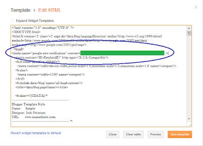 Cara Daftar Blog di Google Webmaster Tools - Menaruh Meta Tag Verifikasi di Blog Blogger/Blogspot