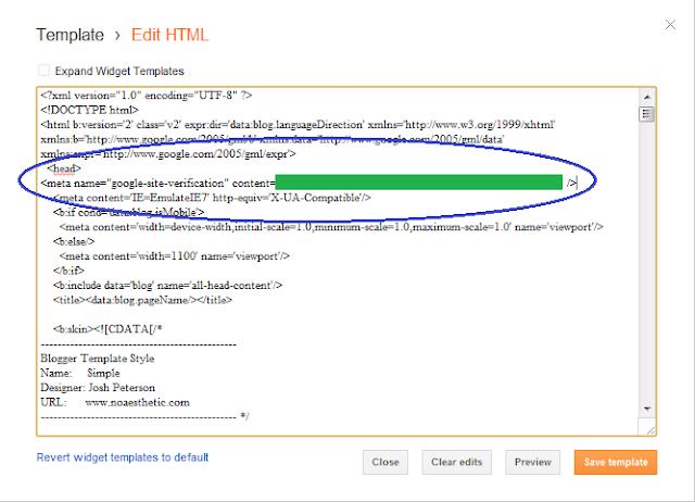 Cara Mendaftarkan Blog ke Google Webmaster Tools - Menaruh Meta Tag Verifikasi di Blog Blogger/Blogspot