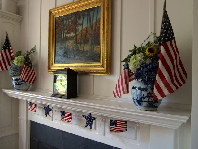 flags and hydrangeas