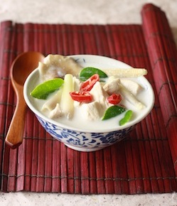 thai coconut chicken soup with southeast asian herbs - galangal, lemongrass, kaffir lime leaves, bird's eye chili peppers