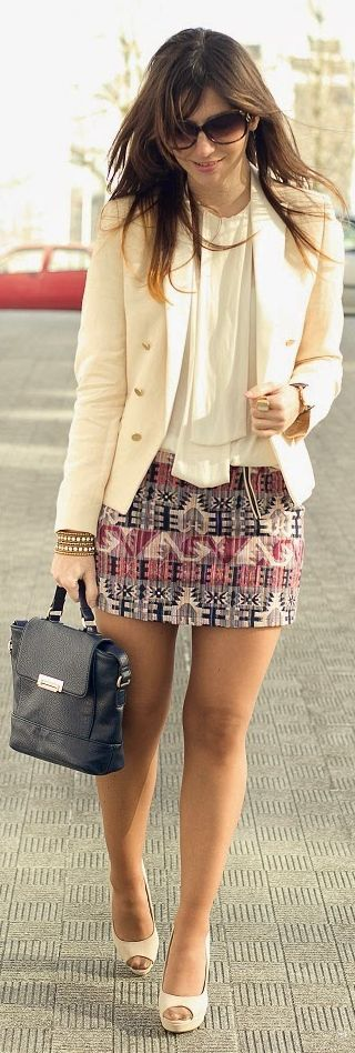Lefties Pink And Grey Aztec Print Mini Skirt