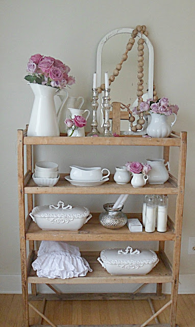 i donu0027t usually go for shabby chic but with all that beautiful ironstone this rolling rack is sooo adorable