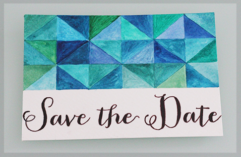 watercolour DIY Save the Date London wedding postcard