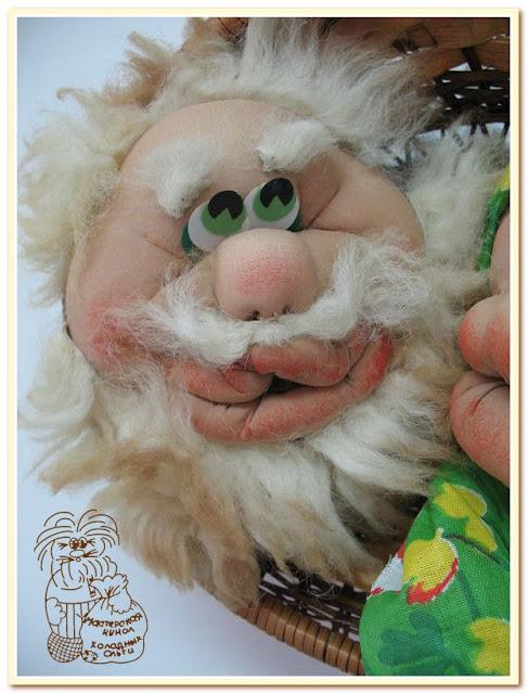 авторская кукла в текстсильно-скульптурной технике Дедушка