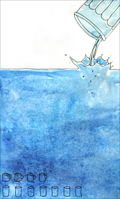 artist journal drawing showing how much water was drank in a day