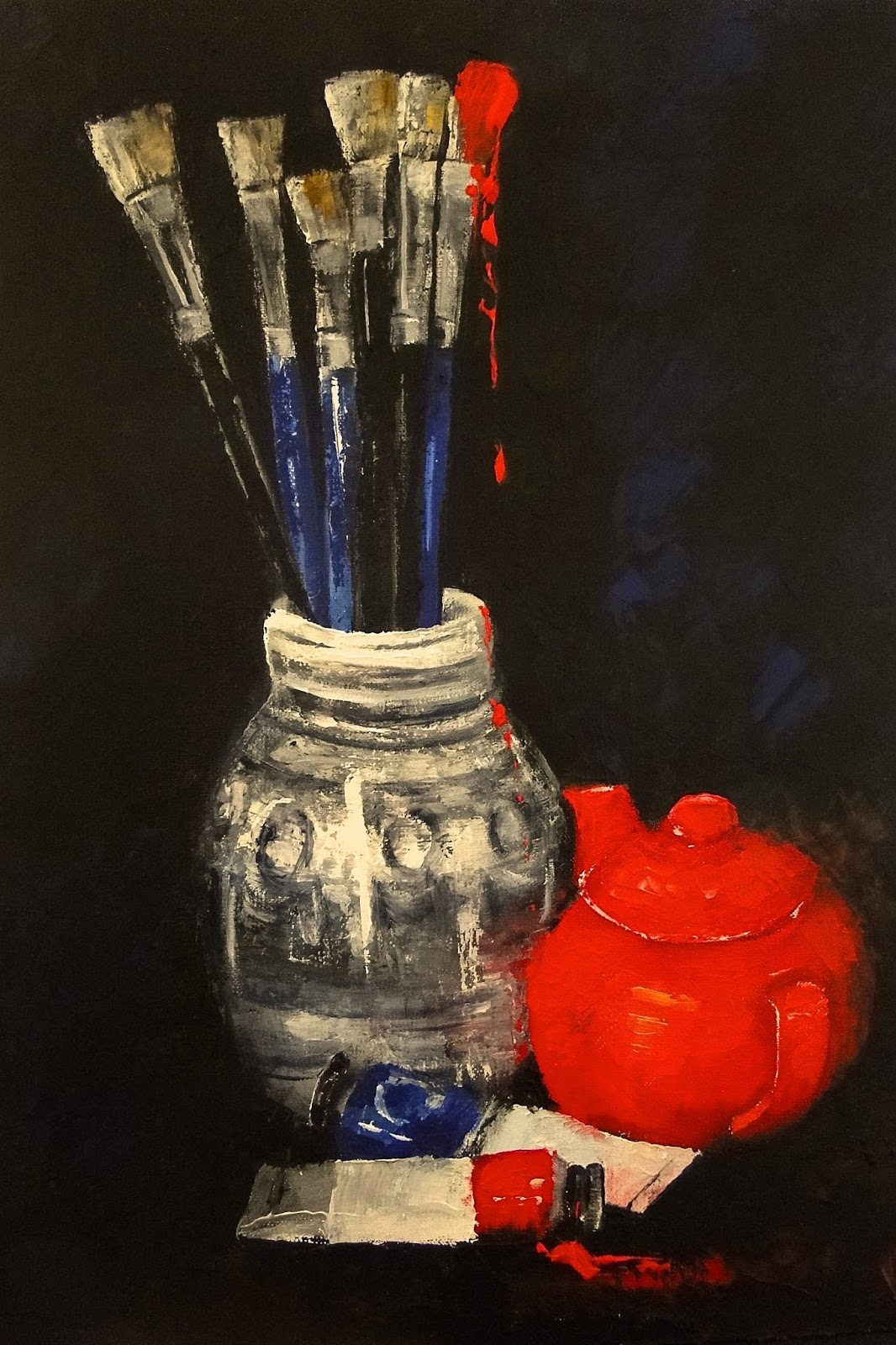 still life of vase, brushes and teapot using impasto red oil paint and a palette knife