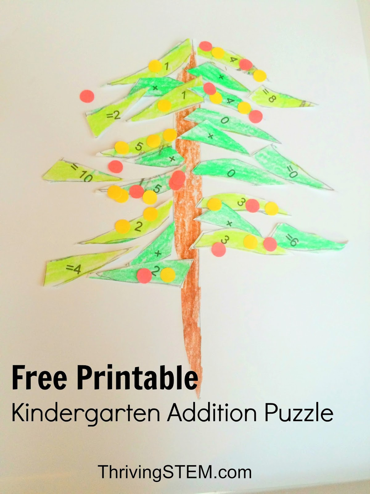 Adding Doubles Christmas Tree Math Puzzle for Kindergarten ...