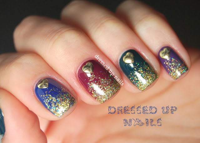 Dressed Up Nails - glitter gradient nail art with heart studs