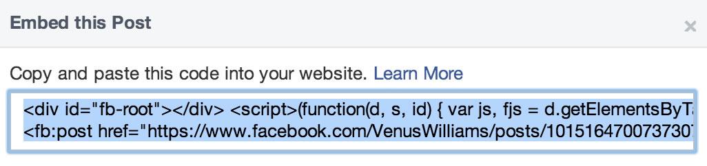 Codice Facebook Web