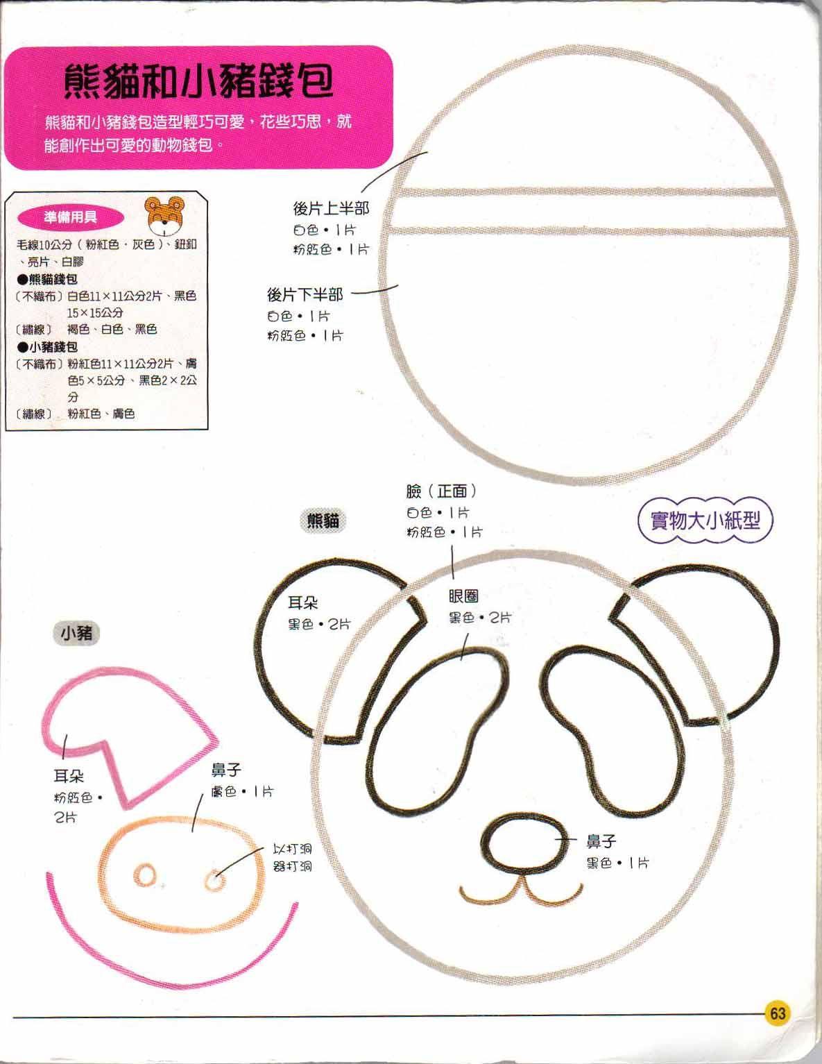 Moldes de Panda e porquinho