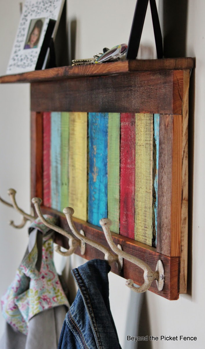 reclaimed wood coat hook http://bec4-beyondthepicketfence.blogspot.com/2014/04/colorful-rustic-coat-hook-shelf.html