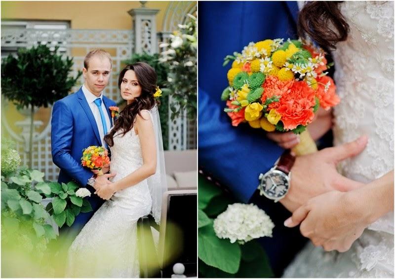 яркая цитрусовая свадьба