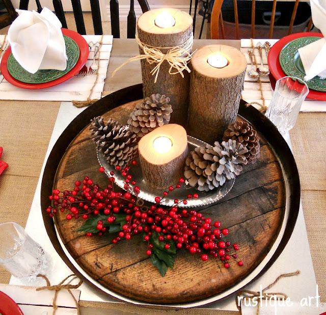 Rustique art rustic holiday decor more - Deco de noel pour table ...