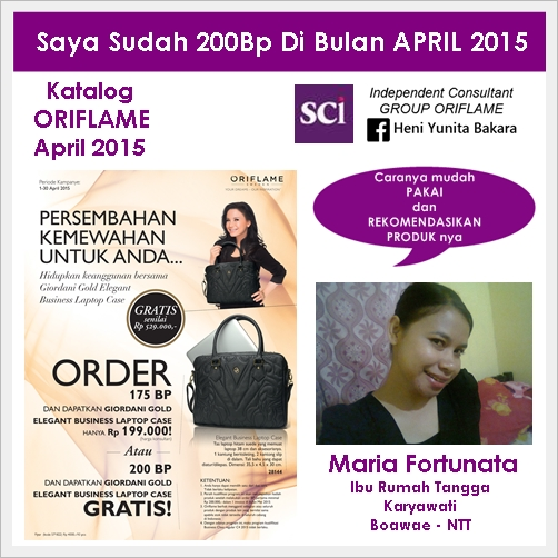 Promo Business Class (BC) Oriflame April 2015 - HADIAH Gold Elegant Business Laptop Case GRATIS
