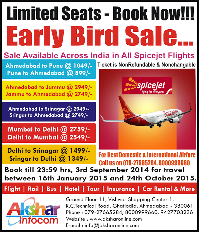 Spicejet Early Bird Offer - Book Now!!!