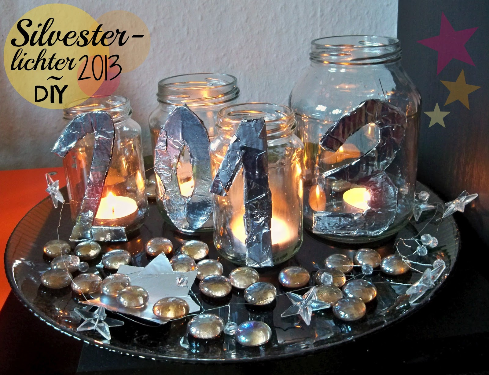 Mrs kings castle selbstgemachte silvesterdeko lichter 2013 - Silvester dekoration ...