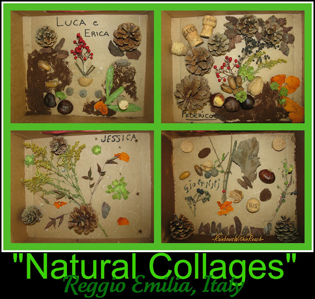 Reggio Emilia natural collage, Earth Day bulletin board, preschool Art