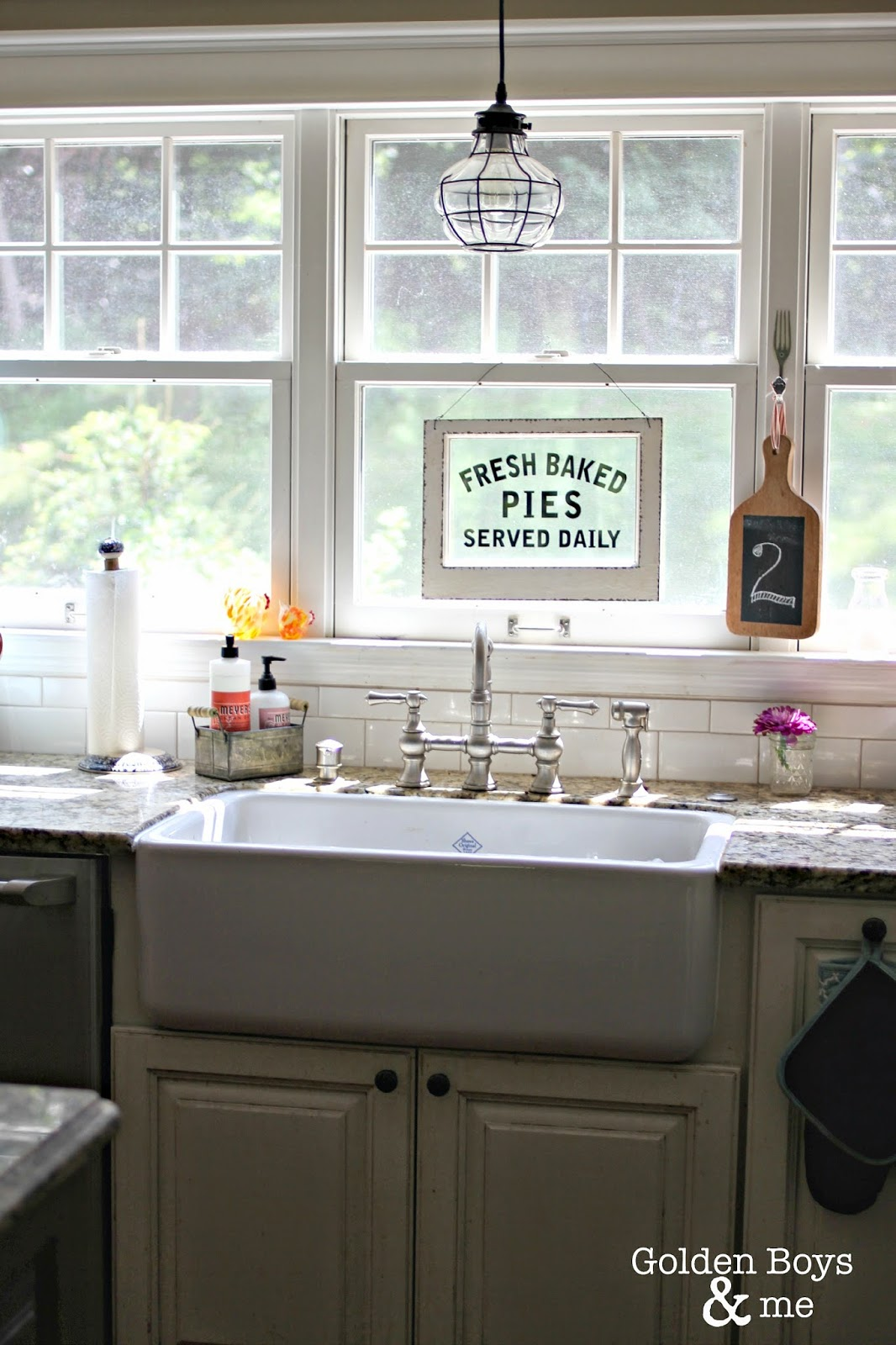 Farm sink with World Market Fresh Baked pies sign-www.goldenboysandme.com