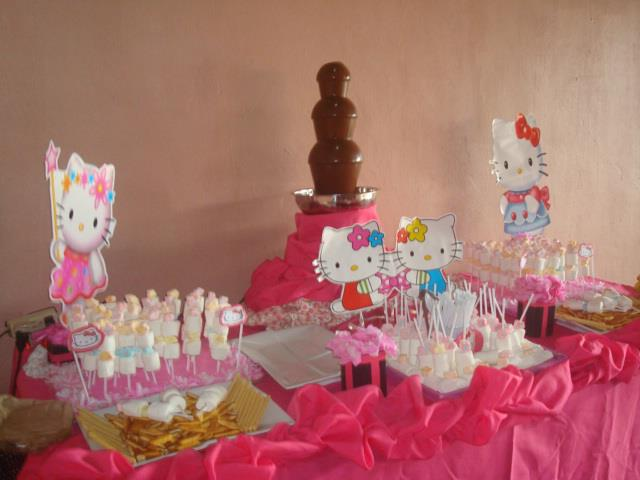amber flinkee chocolate fountain and candy buffet hello Kitty theme
