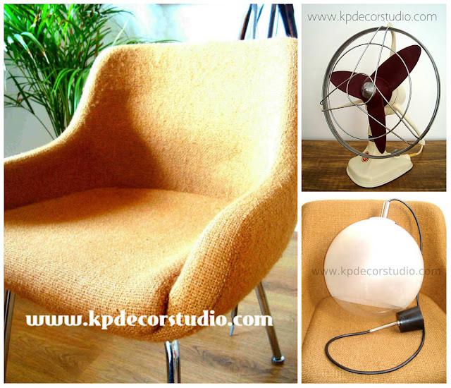 comprar vintage en Valencia y barcelona, lamparas, sillas y ventilador retro