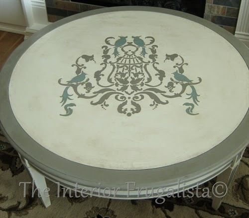 Birds of Paradise Coffee Table with stenciled top