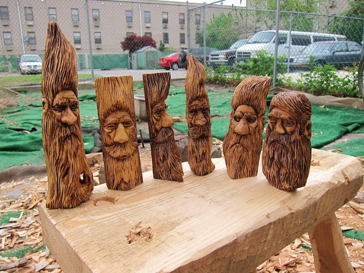 Wood carving whittling spirits hipsters and brooklyn