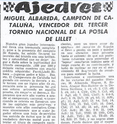 Crónica de Francisco J. Pérez en El Noticiero Universal sobre el III Torneo Nacional de Ajedrez de La Pobla de Lillet 1957 (1)