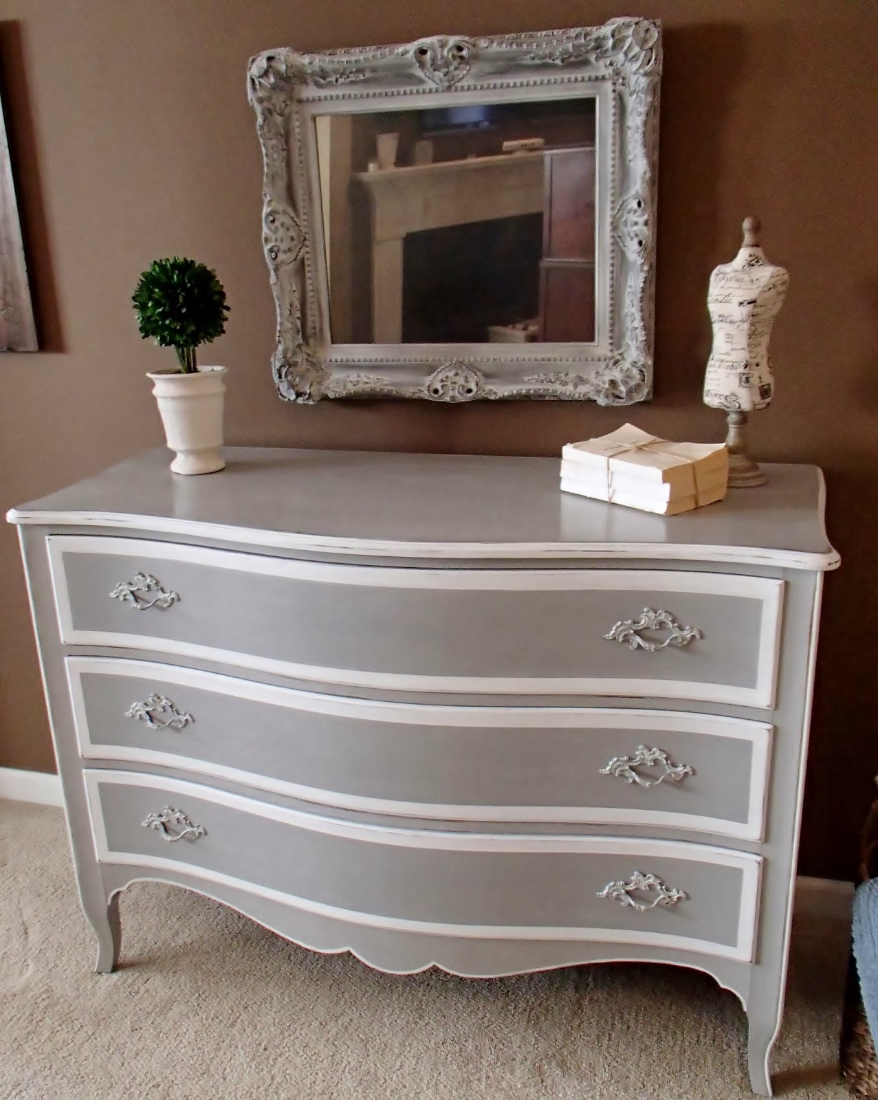 New again french chest in grey white for Dark grey furniture paint