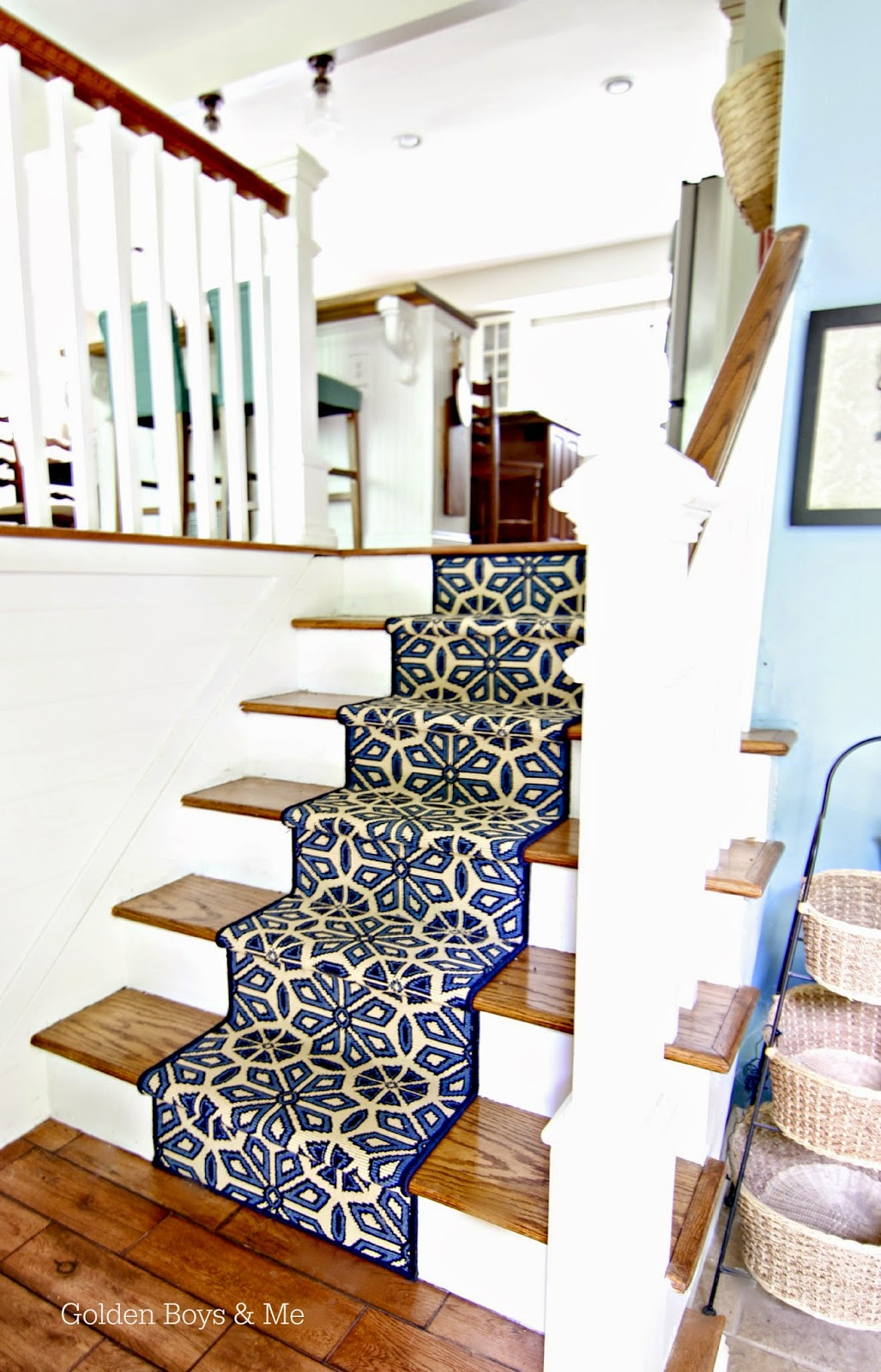 DIY stair runner using  indoor/outdoor off the shelf carpet-www.goldenboysandme.com